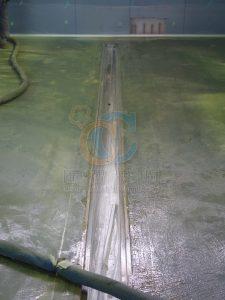 興建前不銹鋼水溝舖設定位及洩水波度測試