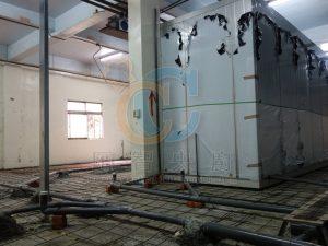 地板墊高灌漿前排水管路和鐵網配置
